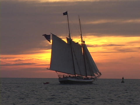 Large sailboat or clipper ship, sails toward the horizon... Stock Video Footage