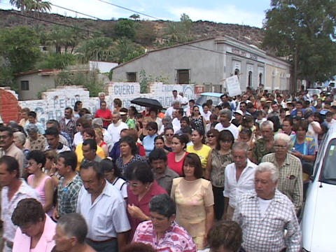Crowds of people walking through small Mexico village, during a religious parade Footage