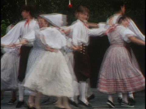 Traditional dancers in Prague dance together in a circle... Stock Video Footage