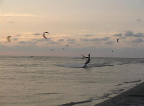 A windsurfer speeds across the water and performs a trick Footage