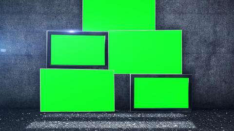 tv screens in green screen picture in front of a grunge wall Animation