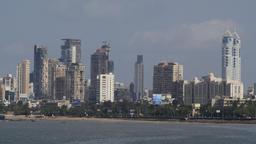 Skyline along Back Bay,Mumbai,India Footage