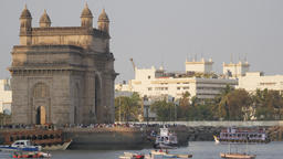 Gateway Of India and ferry arriving,Mumbai,India Footage