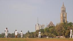 People play cricket on Oval maidan,Mumbai,India Footage