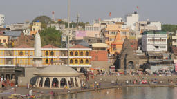 Ramkund or Panchavati, ghat on the sacred river Godavari,Nashik,India Footage