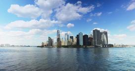 Skyline of Lower Manhattan as Seen from Staten Island Ferry Footage