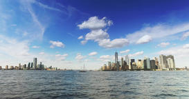 Skyline of Lower Manhattan and Jersey City as Seen from Staten Island Ferry on N Footage