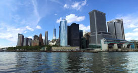 Skyline of Lower Manhattan as Seen from New York Harbor Footage