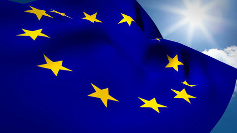 Union flag and European flag waving against sky Live Action