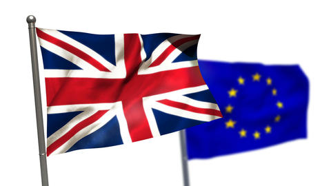 Union flag and European flag waving against white background Live Action
