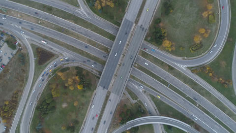 Top view, traffic congestion at busy ring road. Traffic jam concept Live Action
