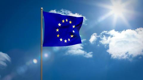 European flag against sky on a sunny day Live Action