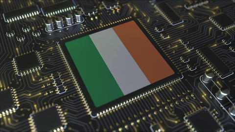 National flag of Ireland on the operating chipset. Irish information technology Live Action