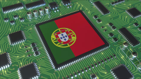 National flag of Portugal on the operating chipset. Portuguese information Live Action