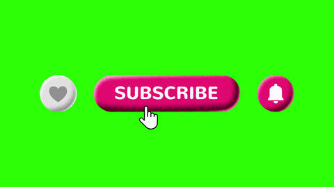 Grain Shaded Like Subscribe and Notifications Buttons on Green Screen Animation