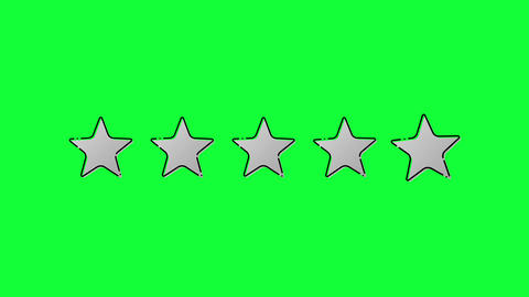 Mouse Click on 5 Outlined Stars Rating on Green Screen Animation