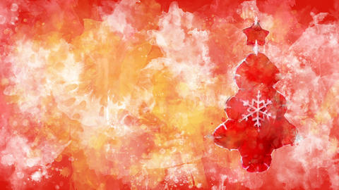 Watercolor decoration - red Christmas tree on the background of colored blots Animation