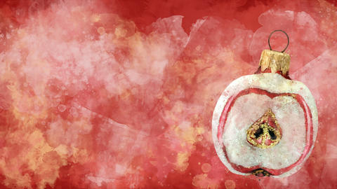 Watercolor Christmas decoration half apple on the background of colored blots Animation
