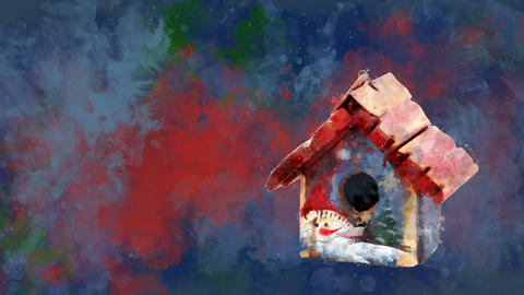 Watercolor Christmas decoration toy house on the background of colored blots Animation
