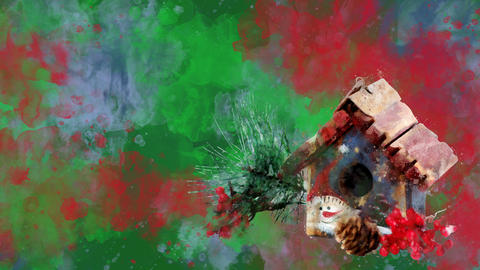 Watercolor Christmas decoration winter house on the background of colored blots Animation