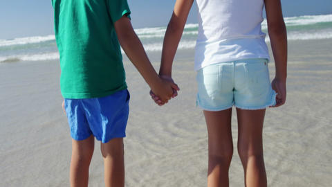 Siblings holding hands at beach on a sunny day Live Action