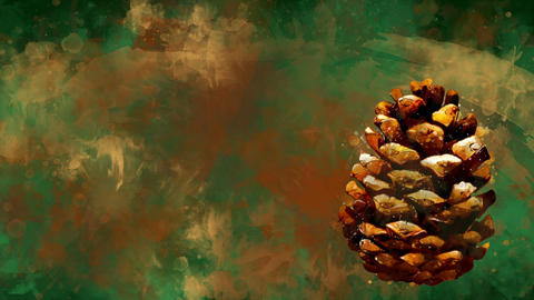 Watercolor Christmas decoration dry pinecone on the background of colored blots Animation