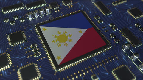 Flag of Philippines on the operating chipset. Information technology or hardware Live Action