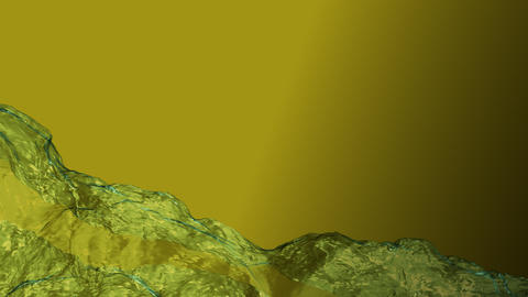 Water. Realistic animation. Stream of water. Yellow BG Live Action