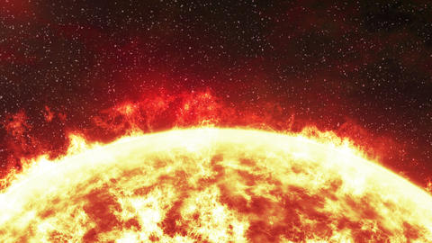 Close up of the Sun with stars in the background, loopable animation Animation