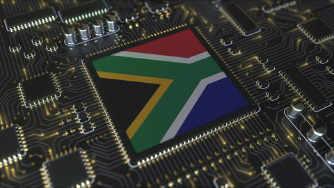 National flag of South Africa on the operating chipset. RSA information Live Action