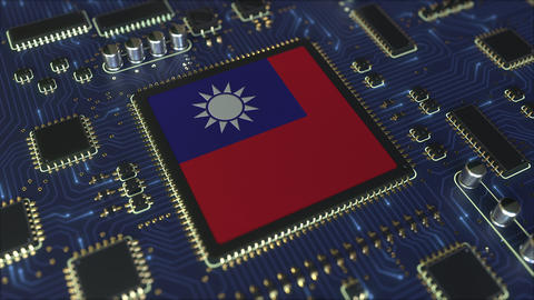 National flag of Taiwan on the operating chipset. Taiwanese information Live Action