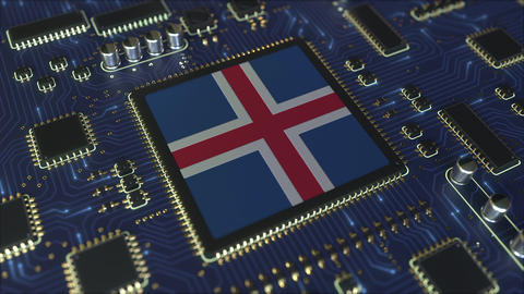 National flag of Iceland on the operating chipset. Icelandic information Live Action
