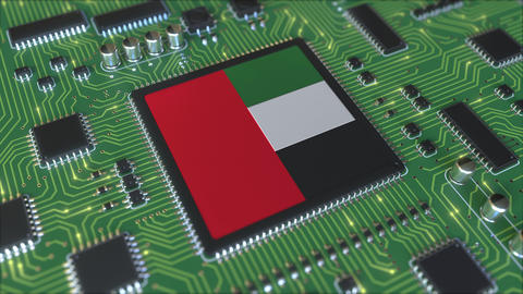 Flag of the United Arab Emirates on the operating chipset. UAE information Live Action