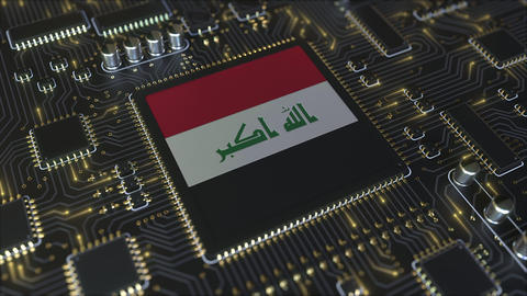 National flag of Iraq on the operating chipset. Iraqi information technology or Live Action