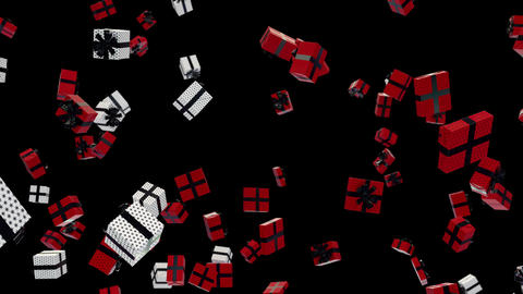 Red and White Gift falling down loop with alpha Animation
