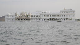 Taj Lake Palace heritage hotel on island in lake Pichola,Udaipur,India Footage