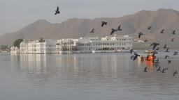 Taj Lake Palace hotel on island with pigeons flying ,Udaipur,India Footage