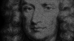 Animation of Sir Isaac Newton made with numbers running Animation