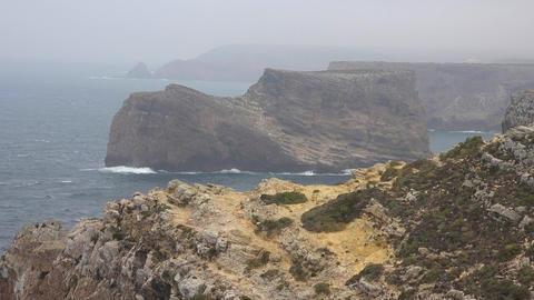 Coastal Cliffs On Foggy Day Footage