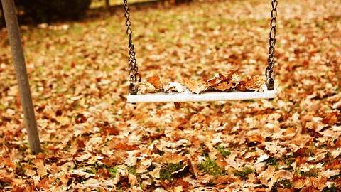 Empty swing with leaves in the autumn season moving Filmmaterial