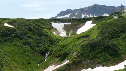 Older crater in valley of mutnovsky volcano kamchatka peninsula russia Footage