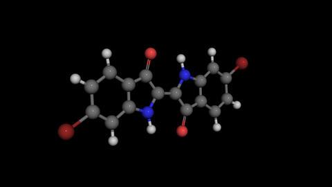 6,6-Dibromindigo molecule model rotating, Stock Animation