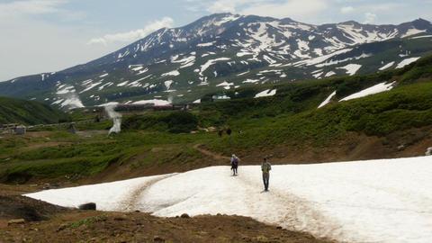 Tourists in mutnovsky volcano area kamchatka russia Footage
