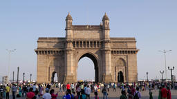 TIMELAPSE Gateway Of India with indian tourists,Mumbai,India Footage