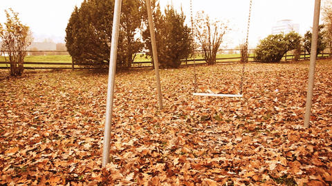 Abandoned playground full of leaves in shiny autumn season Footage