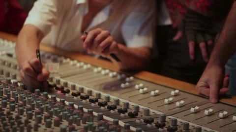 Marking audio recording desk console in recording studio for sound mixing Footage