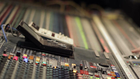 Large audio studio recording desk equipment panel in music recording studio Footage