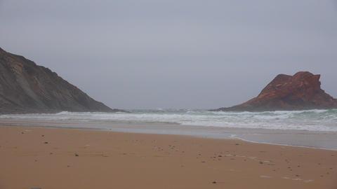 Coastal Ocean Beach And Rock Formation Footage