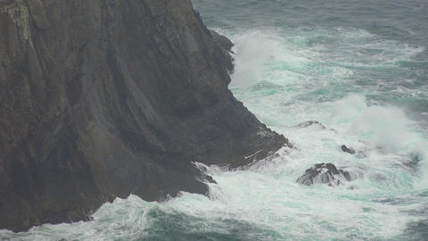 Extreme Weather As Ocean Waves Hit Cliff Live Action
