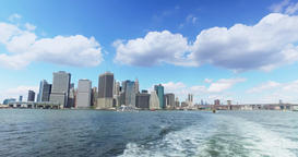 View of Lower Manhattan Skyline as Seen from East River Ferry Footage